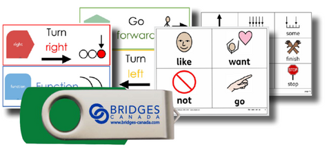 Materials included in Bridges accessible Coding kit for students with special needs.