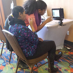 Attendees at Bridges LIVE! Mississauga using eye gaze