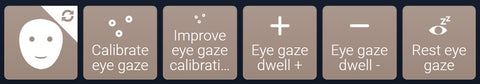 Some of the many settings eye gaze users can control in a grid