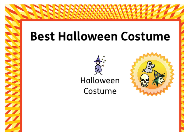 best halloween costume certificat widgit online download pdf