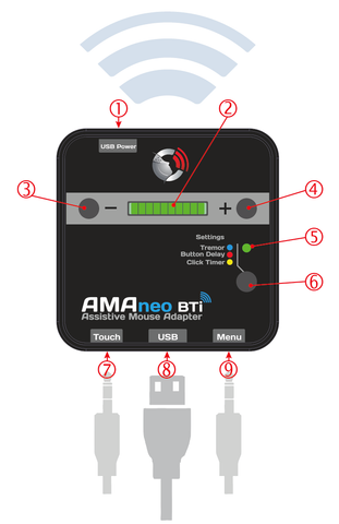 Operating the AMAneo BTi mouse adaptor for iOS devices