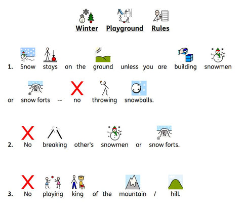 Winter playground rules and winter vocabulary