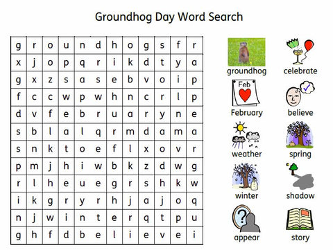 Goundhog Day Word Search made in Widgit Online