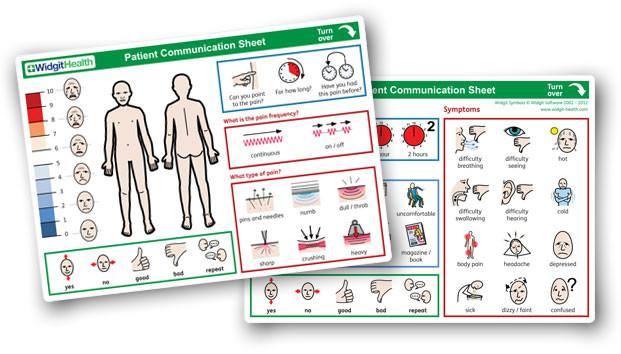 Patient Communication Sheets by Widgit Health (10 sheet pack)
