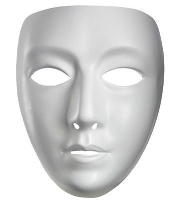 White Plastic Matte Face Mask - Macsound Electronics & Theatrical Supplies