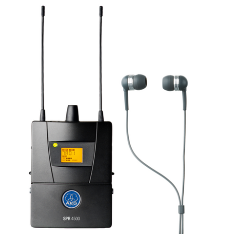 AKG SPR4500I50 In-Ear Monitoring Belt Pack Diversity Receiver and IP2 In-Ear Headphones - Macsound Electronics & Theatrical Supplies