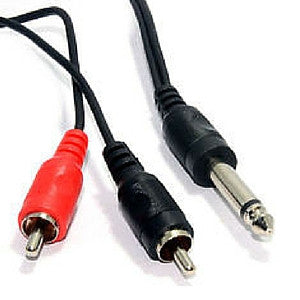 Daichi AL648 2 x RCA Plugs to 6.3mm Mono Plug 1.2m - Macsound Electronics & Theatrical Supplies