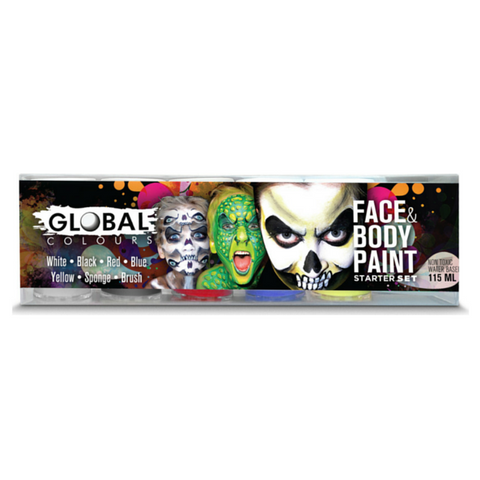 Global Colours BodyArt Face & Body Paint Set 115mL - Starter - Macsound Electronics & Theatrical Supplies
