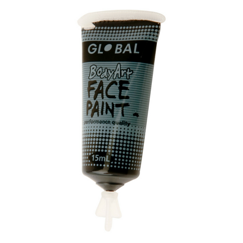 Global Colours BodyArt Face & Body Paint 15ml - Black - Macsound Electronics & Theatrical Supplies
