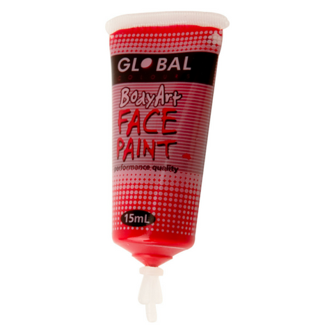 Global Colours BodyArt Face & Body Paint 15ml - Deep Red - Macsound Electronics & Theatrical Supplies