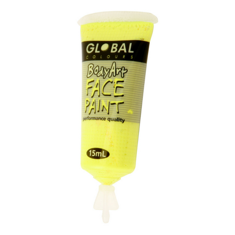 Global Colours BodyArt Face & Body Paint 15ml - Neon Yellow - Macsound Electronics & Theatrical Supplies