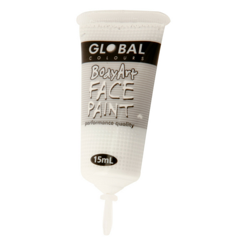 Global Colours BodyArt Face & Body Paint 15ml - White - Macsound Electronics & Theatrical Supplies