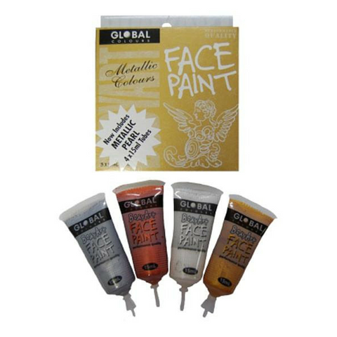 Global Colours BodyArt Face & Body Paint Pack 4 x 15ml - Metallic - Macsound Electronics & Theatrical Supplies