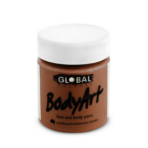 Global Colours BodyArt Face & Body Paint 45ml - Brown - Macsound Electronics & Theatrical Supplies