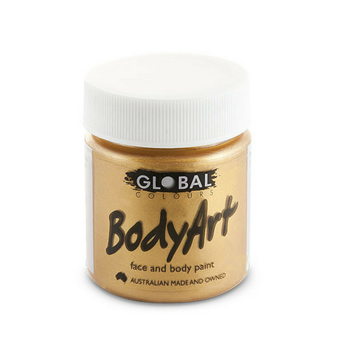 Global Colours BodyArt Face & Body Paint 45ml - Metallic Gold - Macsound Electronics & Theatrical Supplies
