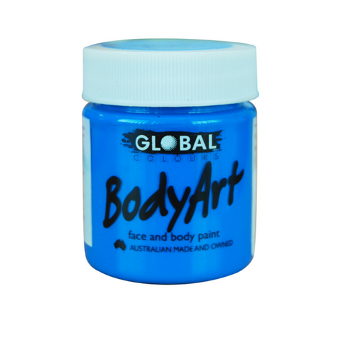 Global Colours BodyArt Face & Body Paint 45ml - Neon Blue - Macsound Electronics & Theatrical Supplies