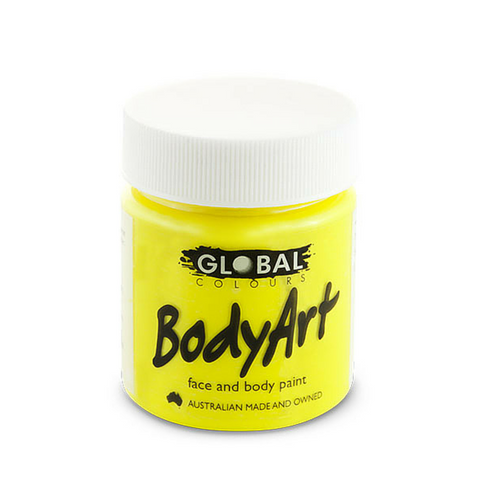 Global Colours BodyArt Face & Body Paint 45ml - Neon Yellow - Macsound Electronics & Theatrical Supplies