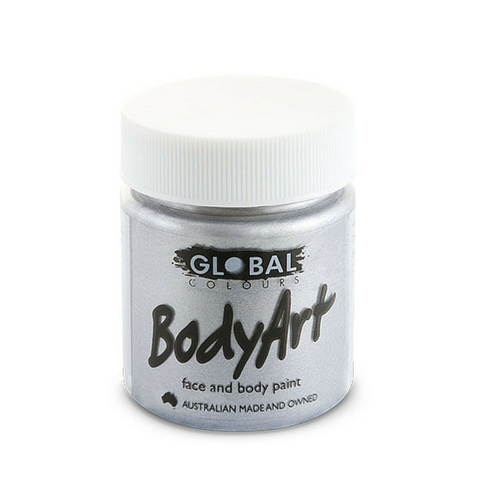 Global Colours BodyArt Face & Body Paint 45ml - Metallic Silver - Macsound Electronics & Theatrical Supplies