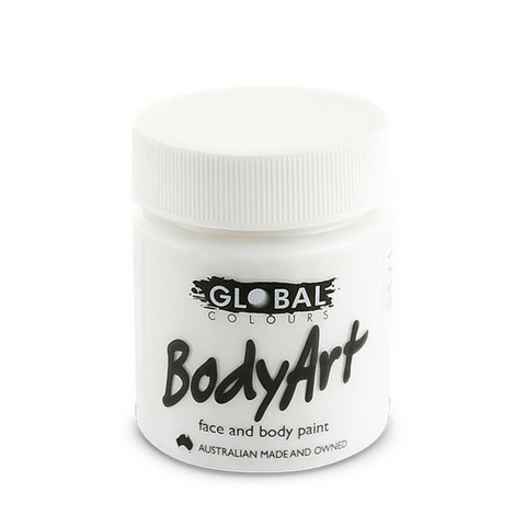 Global Colours BodyArt Face & Body Paint 45ml - White - Macsound Electronics & Theatrical Supplies