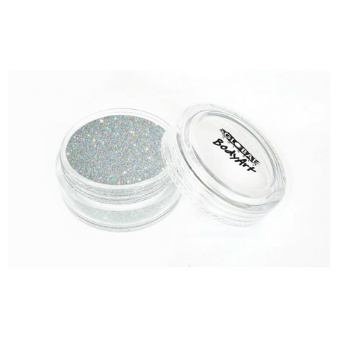 Global Colours BodyArt Cosmetic Glitter 4g - Holographic Silver - Macsound Electronics & Theatrical Supplies