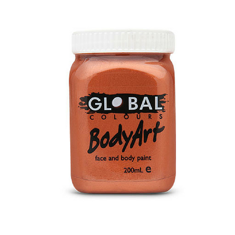 Global Colours BodyArt Face & Body Paint 200ml - Metallic Copper - Macsound Electronics & Theatrical Supplies