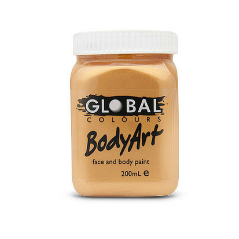Global Colours BodyArt Face & Body Paint 200ml - Metallic Gold - Macsound Electronics & Theatrical Supplies