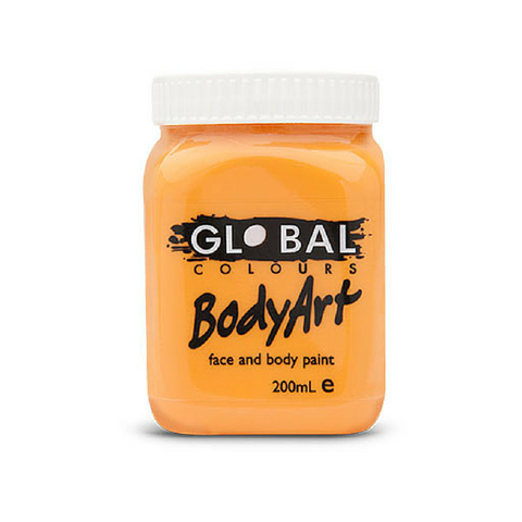 Global Colours BodyArt Face & Body Paint 200ml - Orange - Macsound Electronics & Theatrical Supplies