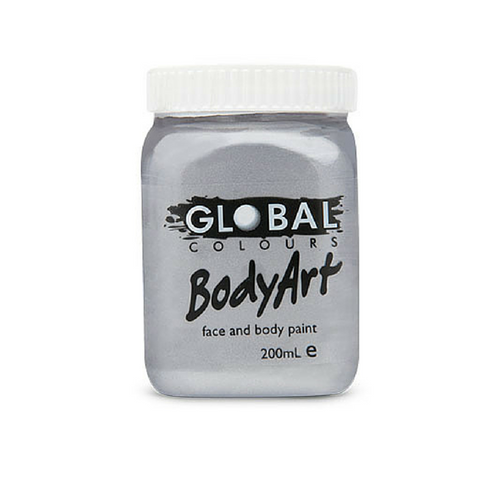 Global Colours BodyArt Face & Body Paint 200ml - Metallic Silver - Macsound Electronics & Theatrical Supplies