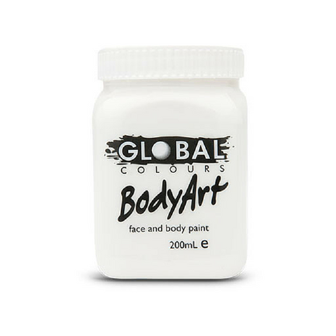 Global Colours BodyArt Face & Body Paint 200ml - White - Macsound Electronics & Theatrical Supplies
