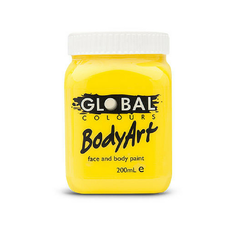 Global Colours BodyArt Face & Body Paint 200ml - Yellow - Macsound Electronics & Theatrical Supplies