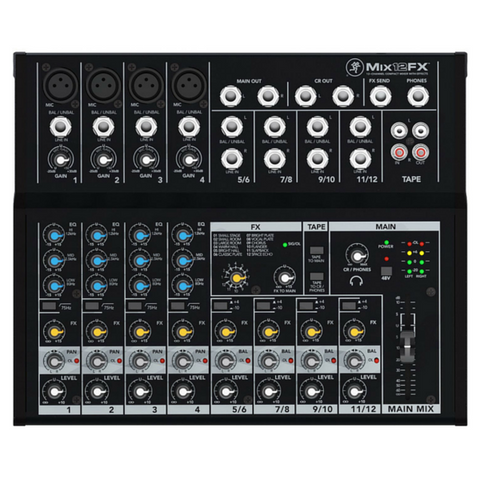 Mackie Mix12FX 12-input Compact Mixer with Effects - Macsound Electronics & Theatrical Supplies