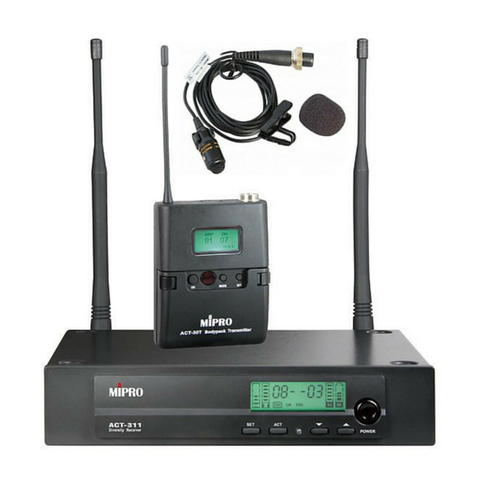 Mipro ACT311-BP Wireless Beltpack & Lapel Microphone System Package 6B Band - Macsound Electronics & Theatrical Supplies