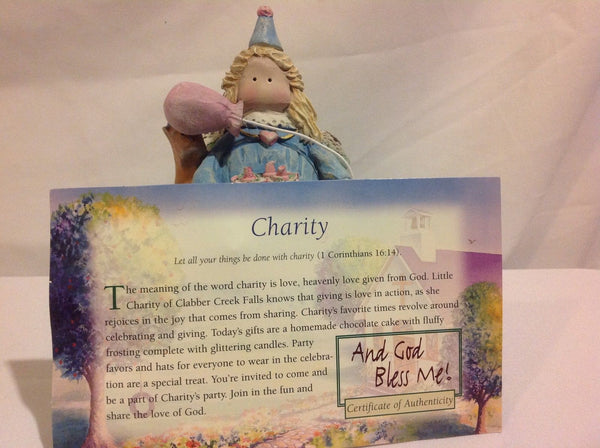 Charity Hand Sculpted Collectable Resin Figurine And God Bless Me! by Kathie Alford