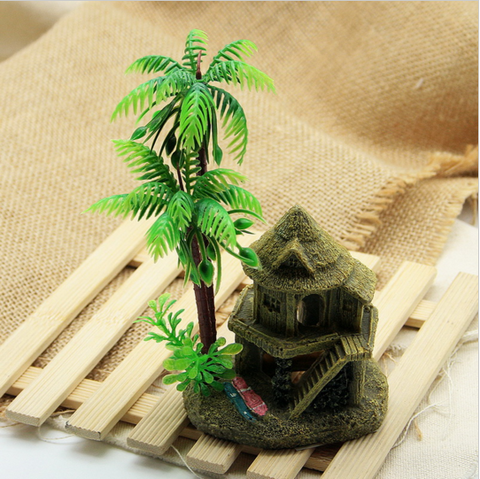 simulation resin coconut tree castle aquariums fish tank ornaments