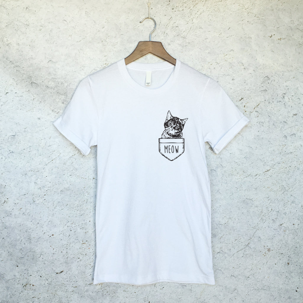 Funny Cat in Pocket Shirt in White – Wild Hearts