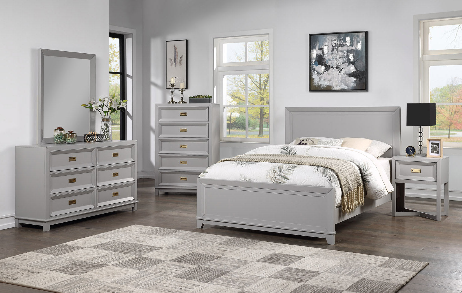 Victoria Bedroom Set Collection, Dove Gray Wood, Contemporary