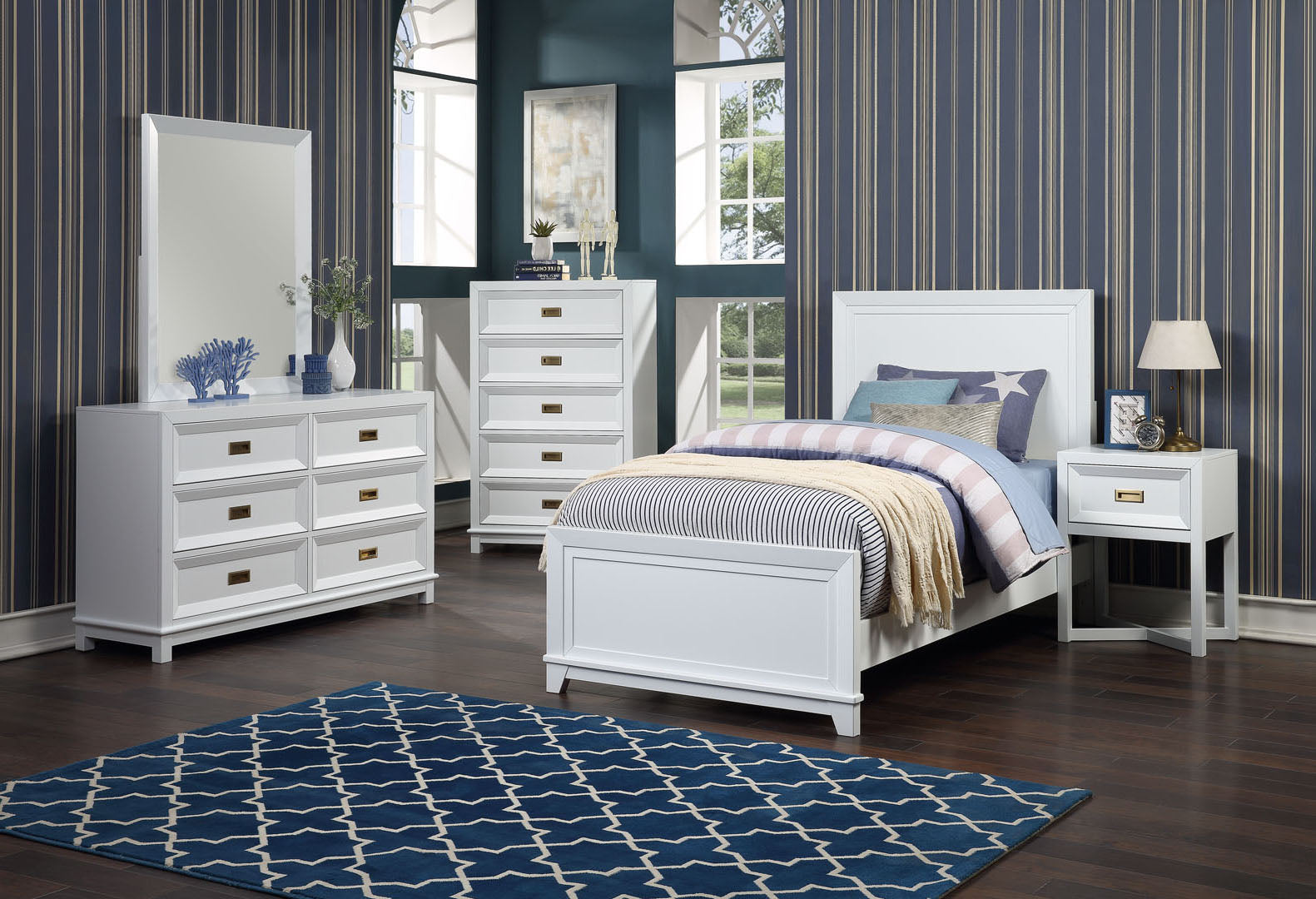 Victoria Bedroom Set Collection, Soft White Wood, Contemporary