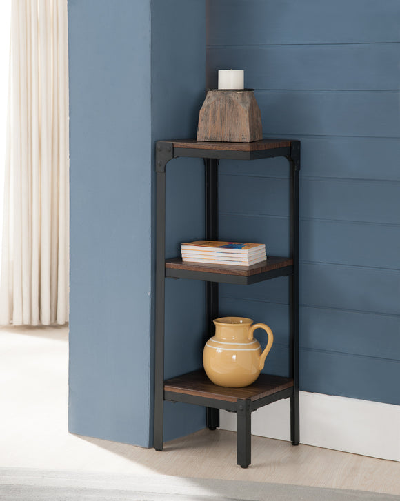 Catalina 3 Tier Corner Bookcase, Walnut Wood & Black Metal