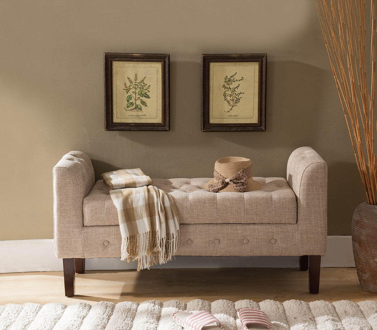 Light Brown Upholstered Microfiber Transitional Tufted