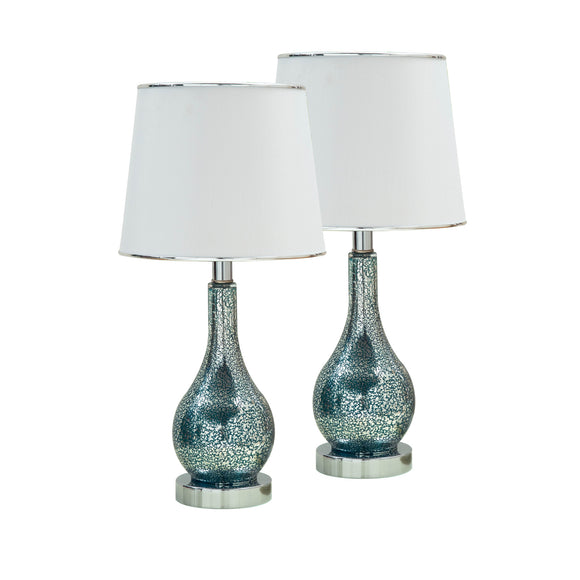 Halle Blue Green Glass With White Fabric Empire Shade Contemporary Bedroom, Bedside, Desk, Bookcase, Living Room Table Lamps (Set Of 2) - Pilaster Designs