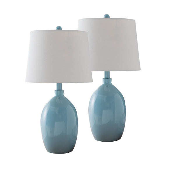 Kaya Blue With White Fabric Oval Shade Contemporary Bedroom, Bedside, Desk, Bookcase, Living Room Table Lamps (Set Of 2) - Pilaster Designs