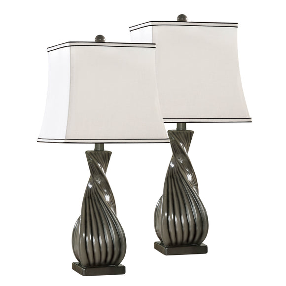 Esperanza Grain Gray With White Fabric Square Shade Contemporary Bedroom, Bedside, Desk, Bookcase, Living Room Table Lamps (Set Of 2) - Pilaster Designs
