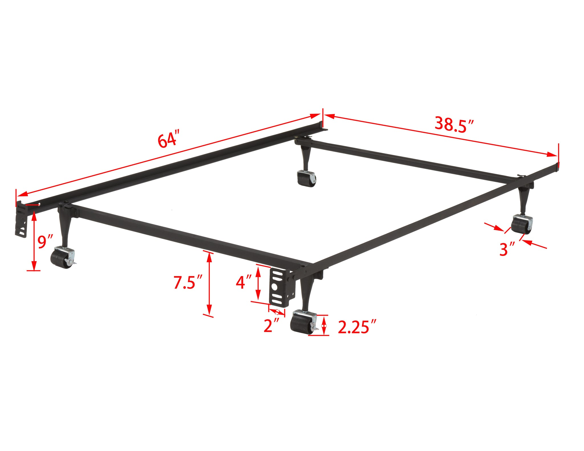 Twin Size Metal Heavy Duty Bed Frame With Rug Rollers & Locking ...