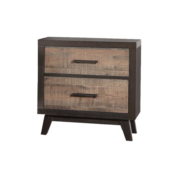 Rustic Mahogany With Solid Wood Dark Ebony Frame 2 Drawer Storage Bedroom Nightstand Bedside Table