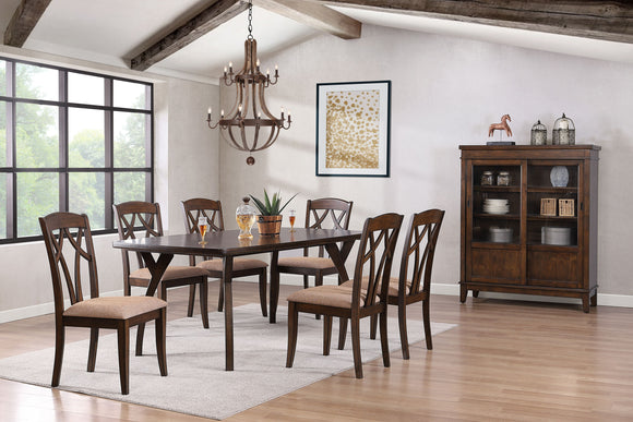 Mindy 8 Piece Dining Set, Cherry Wood