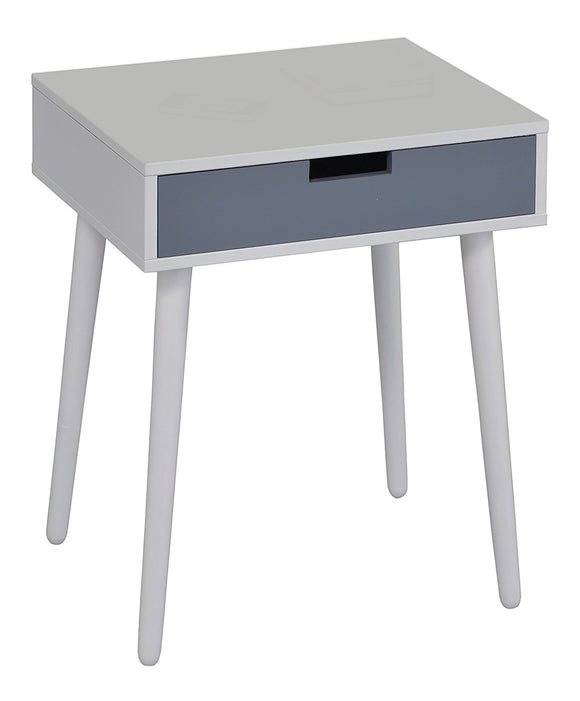 Gray or White Wood Transitional Occasional Side End Table or Nightstand Bedside Table With 1 Storage Drawer - Pilaster Designs