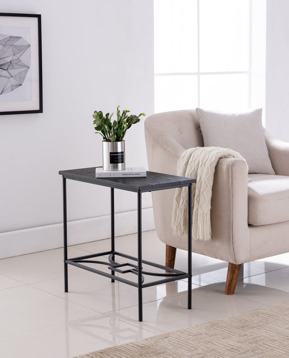 Murten Side Table, Black Metal & Wood