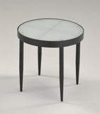 "16"" 4 Legged Black or Rose Gold Metal & Tempered Glass Top Round Modern End or Bedside Table - Pilaster Designs"