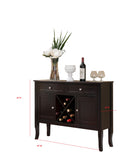 Eric Dark Cherry Wood Contemporary Wine Rack Buffet Display Console Table With Storage Drawers & Cabinet Doors - Pilaster Designs