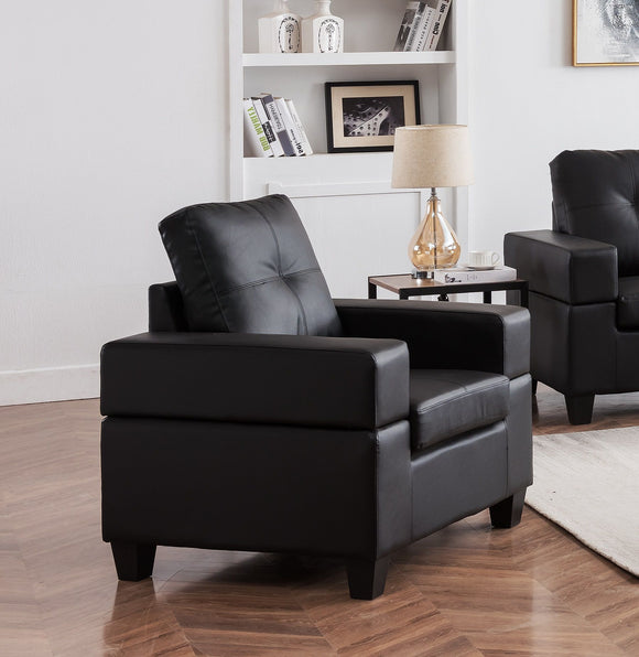 Boutwell Chair, Black Faux Leather